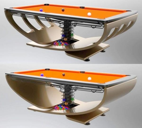 Billardtisch S6: SIX WINDOWS (oben), SOLID (unten), mit Ballreturn